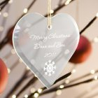 Engraved Heart Glass Christmas Tree Ornament