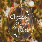 Couples Personalized Glass Christmas Tree Ornament
