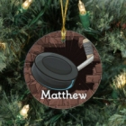 Personalized Hockey Ceramic Christmas Tree Ornament