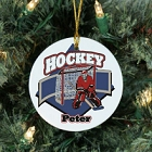 Personalized Hockey Player Ceramic Christmas Tree Ornament