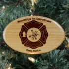 Personalized Fire Department Wooden Oval Christmas Tree Ornament
