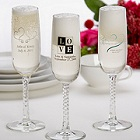 Printed Champagne Glass Wedding Favors