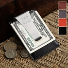 Personalized Leather Money Clip and Credit Card Holder