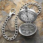Brushed Silver Personalized Pocket Watch