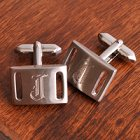Engraved Brushed Silver Cufflinks