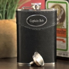 Engraved 8 oz. Leather Flask