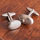 Engraved Oval Brushed Cufflinks