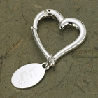 Personalized Contemporary Heart Keychain with Oval Tag