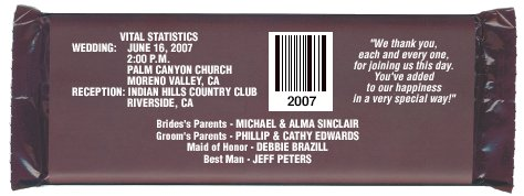 Hershey's Candy Wrapper Wedding Announcements