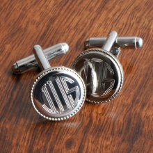 Monogrammed Silver Plated Cufflinks