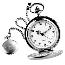 Engraved Brushed Silver Pocket Watch