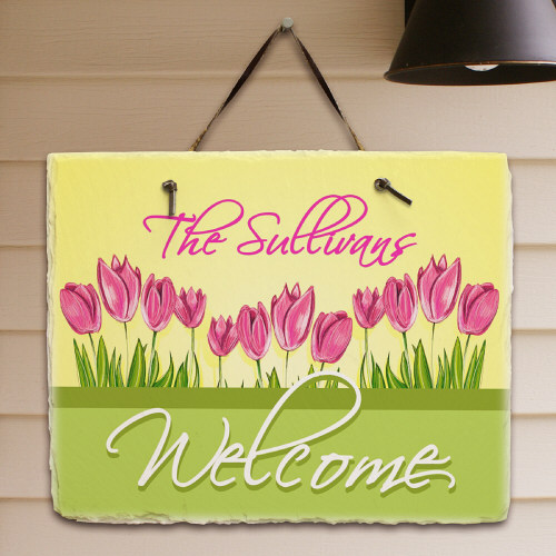 Spring Tulips Personalized Welcome Slate Plaques
