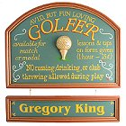 Personalized Avid Golfer Wood Golf Sign