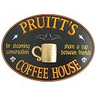 Personalized Coffee House Oval Wood Sign