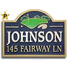 Sandblasted Wood Fairway Golf Address Sign