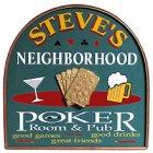 Neighborhood Poker Room and Pub Wood Sign