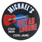 Guitar Lounge Round Wood Sign