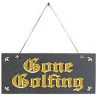 Gone Golfing Wood Door Sign