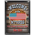 Personalized American Flag Patriotic Welcome Sign