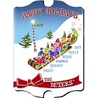 Vintage Personalized Elves Family Wood Christmas Signs