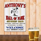 Baseball Hall of Fame Sports Bar Personalized Wall Sign
