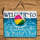 Beach Ball Personalized Welcome Slate Plaque