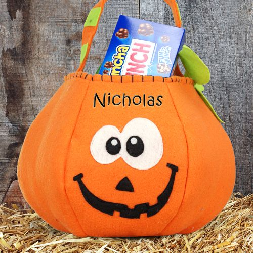 Personalized Pumpkin Halloween Trick or Treat Bags