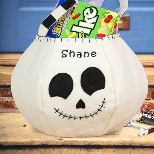 Personalized Skeleton Halloween Trick or Treat Bags