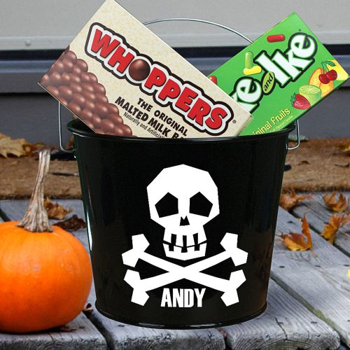 Skull Personalized Halloween Candy Buckets
