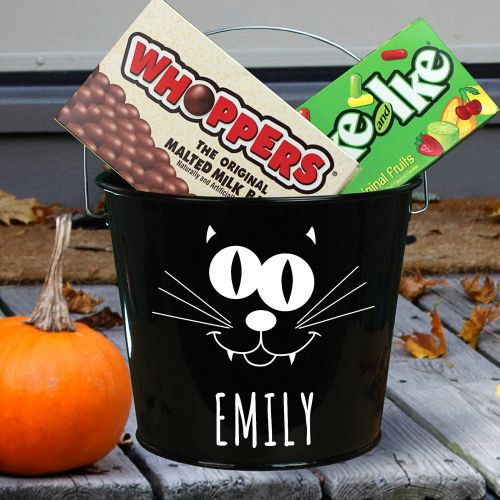 Black Cat Personalized Halloween Candy Buckets