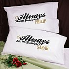 Always Kiss Me Goodnight Personalized Pillowcase Set