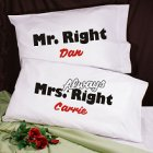 Mr. and Mrs. Right Personalized Pillowcase Set