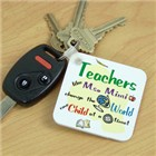 Personalized Change The World Teacher Keychain
