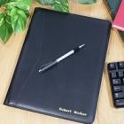 Personalized Black Leather Accountant Portfolio