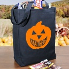 Happy Pumpkin Personalized Black Canvas Halloween Trick or Treat Bags
