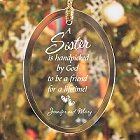 Personalized Sister Glass Christmas Ornaments