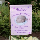 Newborn Baby Girl Announcement Garden Flag