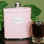 Personalized Pink Leather Liquor Flask