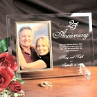 25th Anniversary Personalized Beveled Glass Picture Frame
