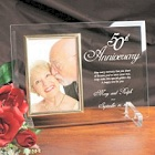 50th Anniversary Personalized Beveled Glass Picture Frames