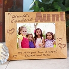 World's Coolest Aunt Engraved Wood Picture Frames