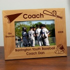 Personalized Baseball Coach Wood Picture Frame