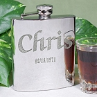 Personalized Bright Finished Silver Liquor Flask