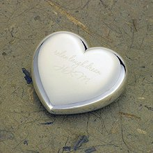 Engraved Silver Plated Heart Paperweights