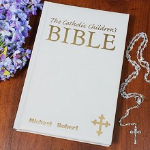Personalized White Catholic Childrens Bible