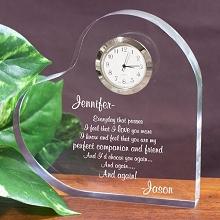 Personalized Romantic Keepsake Heart Clock