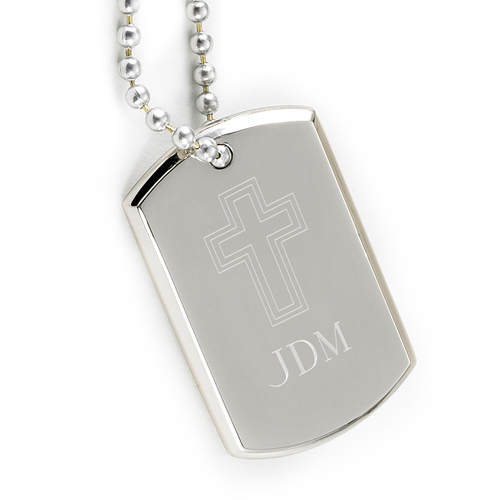 Personalized Inspirational Dog Tag with Engraved Cross