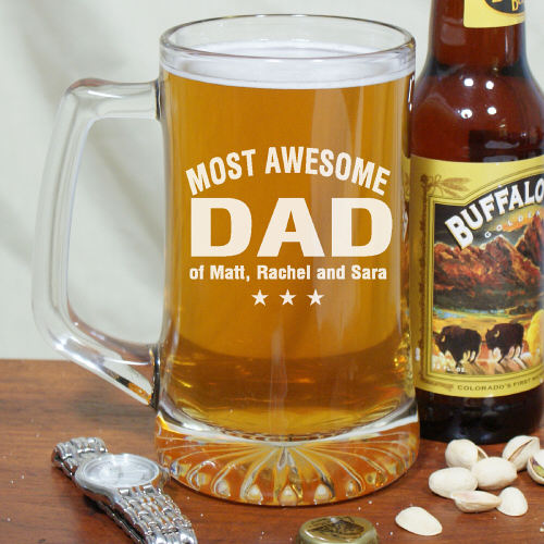 Most Awesome Dad Engraved Fathers Day Glass Beer Mugs