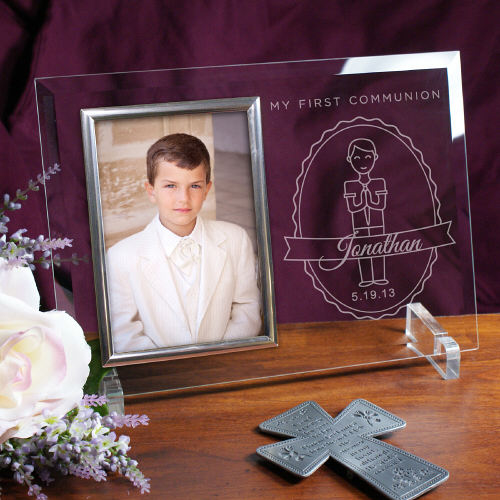 Engraved My First Communion Boy's Beveled Glass Picture Frames