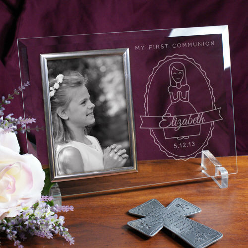 Engraved My First Communion Girl's Beveled Glass Picture Frames